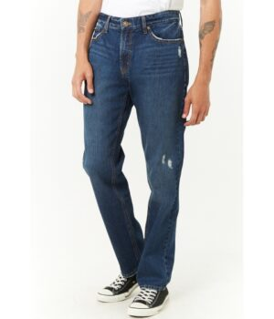 Imbracaminte Barbati Forever21 Distressed Straight-Leg Jeans DARK DENIM