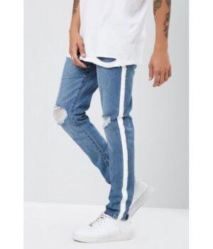 Imbracaminte Barbati Forever21 Distressed Striped-Trim Slim-Fit Jeans MEDIUM DENIM