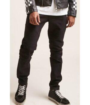 Imbracaminte Barbati Forever21 Slim-Fit Moto Jeans BLACK