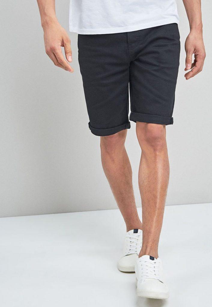 Pantaloni scurti de denim - cu terminatii pliabile si croiala dreapta